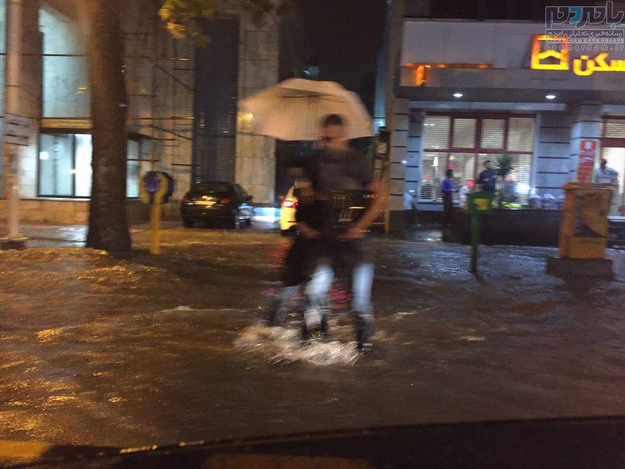 بارش شدید باران در لاهیجان و آبگرفتگی معابر + تصاویر و گزارش هواشناسی