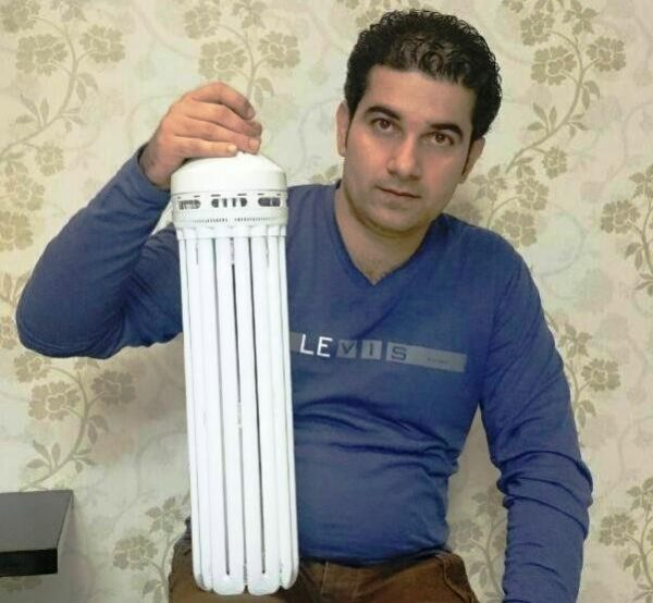 ابداع لامپ کم مصرف غول پیکر ۳۰۰ وات توسط جوان آستارایی