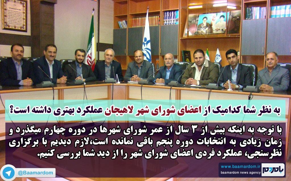 نظرسنجی | به نظر شما کدامیک از اعضای شورای شهر لاهیجان عملکرد بهتری داشته است؟