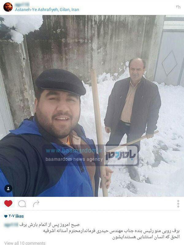 اقدام جهادی فرماندار آستانه اشرفیه در بحران برف اخیر