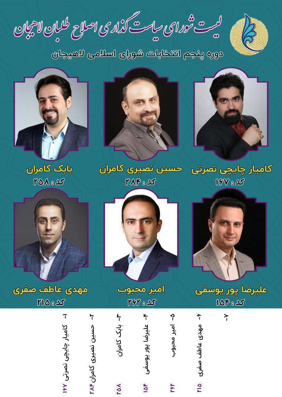 لیست اصلاح طلبان لاهیجان - لیست اصلاح طلبان لاهیجان
