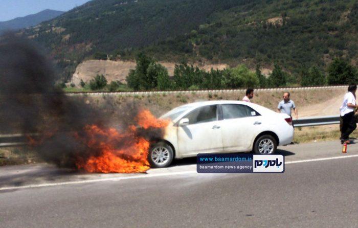 آتش گرفتن خودروی صفر کیلومتر زوتی در مسیر امام زاده هاشم!