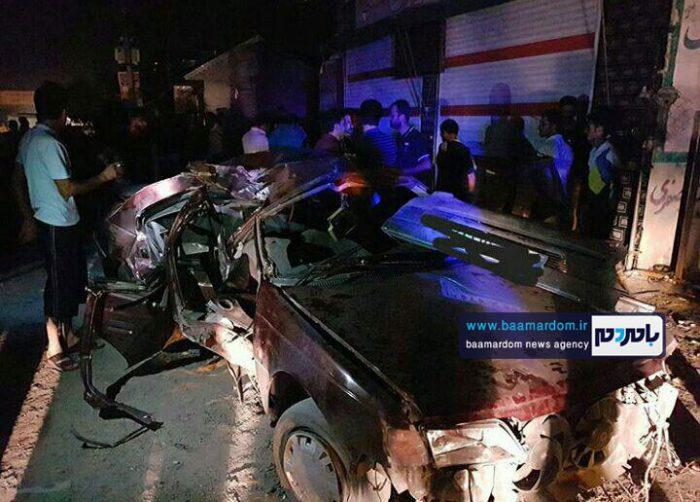 تصادف مرگبار خودرو پژو با تیر چراغ برق در محور آستانه به لاهیجان + عکس