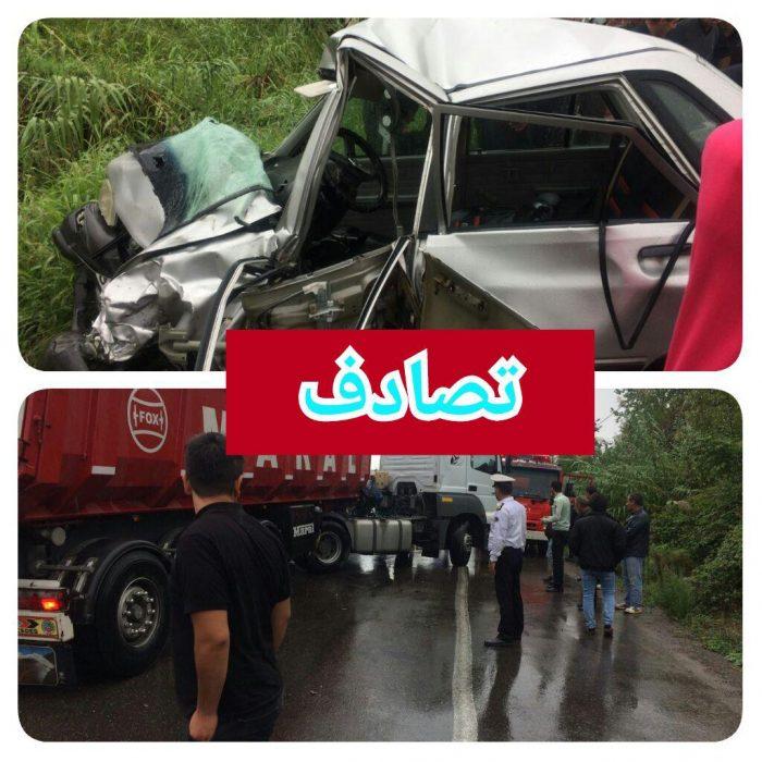 جان سپردن راننده سواری پراید به علت بی مبالاتی راننده کامیون در کوچصفهان + عکس