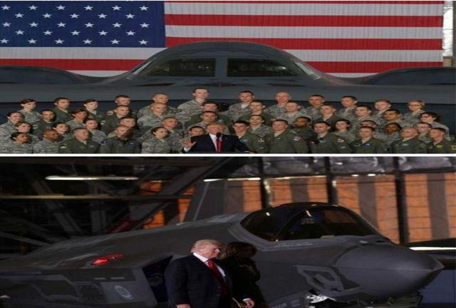 ترامپ سوار بر جنگنده کره شمالی را تهدید کرد + تــــصویر