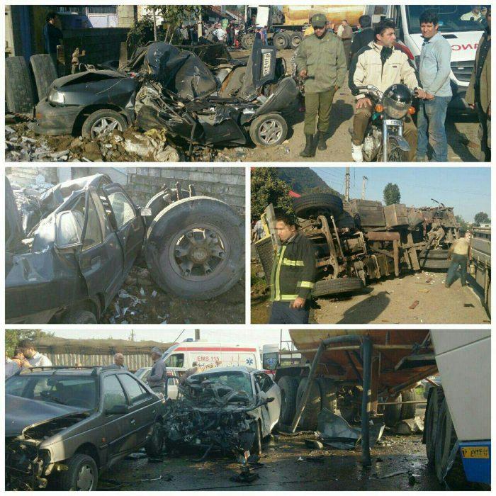 تصادف زنجیره ای وحشتناک در جاده لاهیجان به لنگرود + عکس