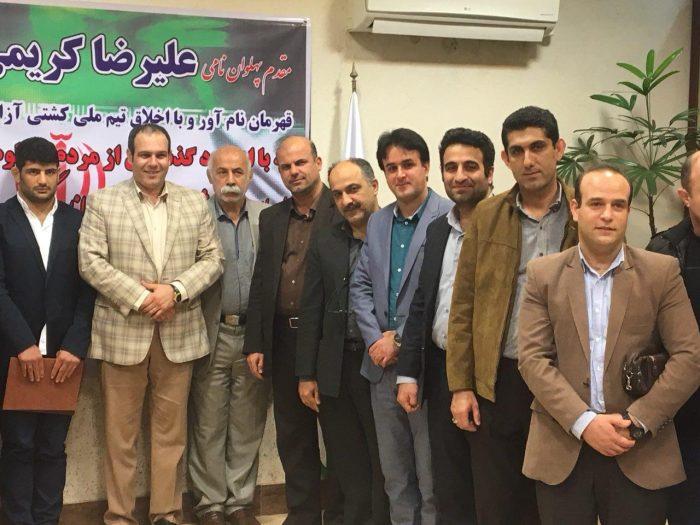 برگزاری مراسم تجلیل از علیرضا كريمی پهلوان و قهرمان نامی كشتی ایران در لاهیجان