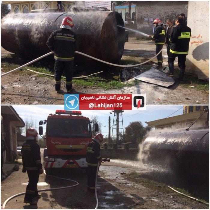 مهار آتش سوزی تانکر نفت در لاهیجان