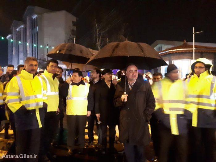 برگزاری مانور آمادگی خودروهای مقابله با بحران بارش برف با حضور فرماندار آستارا + تصاویر