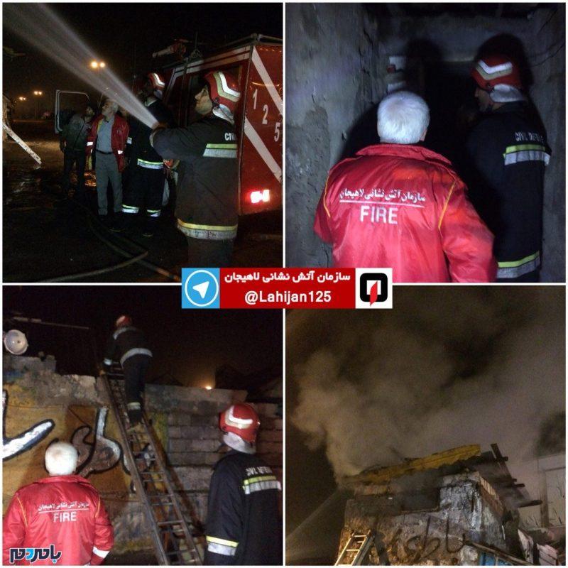 آتش سوزی یک مغازه در لاهیجان + عکس