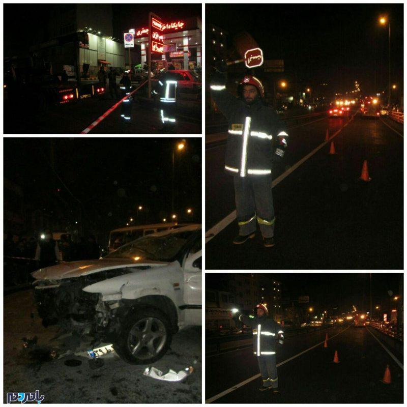 واژگونی خودروی سمند در پل روگذر گاز شهرستان رشت