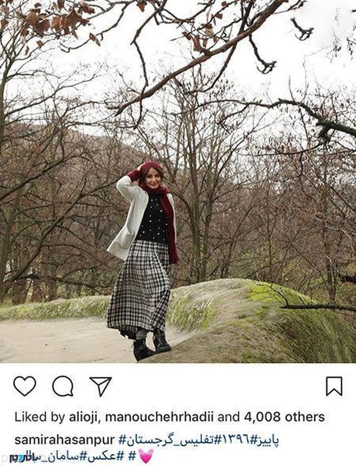 تیپ متفاوت بازیگر زن ایرانی در گرجستان + عکس