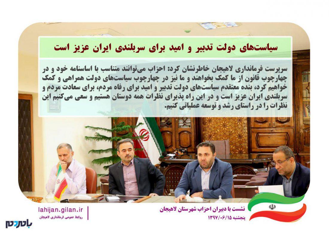 سیاستهای دولت تدبیر و امید برای سربلندی ایران عزیز است / باید تلاش کنیم برای رسیدن به اهداف همافزایی داشته باشیم