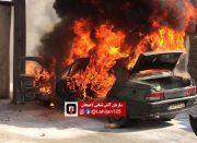 آتش سوزی خودرو پژو آردی در لاهیجان + تصاویر