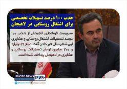 جذب ۱۰۰ درصد تسهیلات تخصیصی برای اشتغال روستایی در لاهیجان