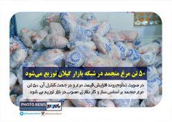 در صورت تداوم روند افزایش قیمت ۵۰ تن مرغ منجمد در شبکه بازار گیلان توزیع می شود
