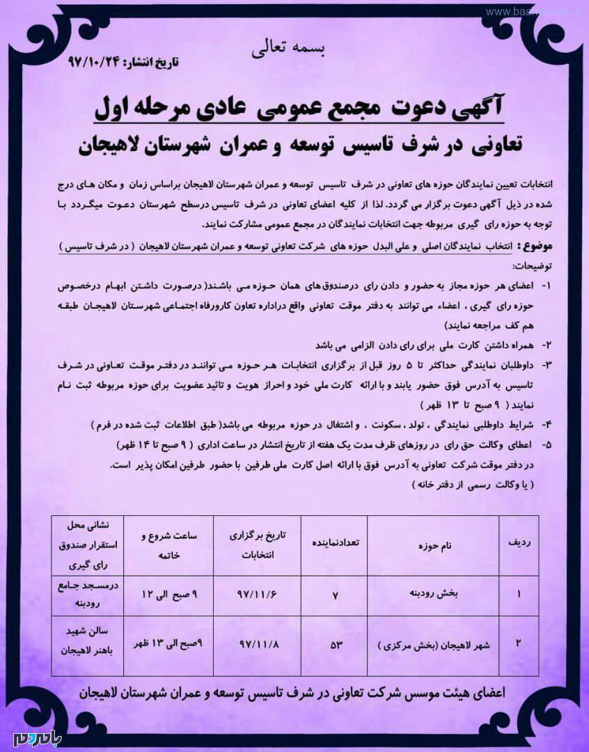 انتخابات تعیین نمایندگان حوزههای تعاونی در شرف تاسیس توسعه و عمران شهرستان لاهیجان برگزار میشود