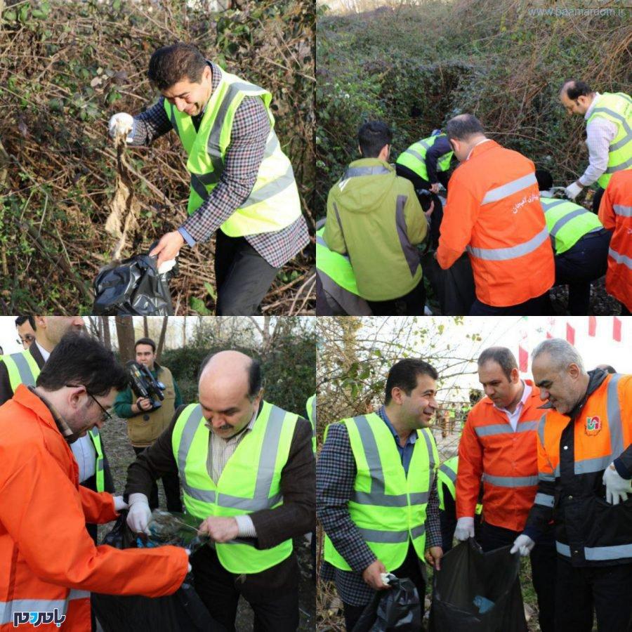 معابر شهر لاهیجان در آستانه سال نو از زباله پاکسازی شد