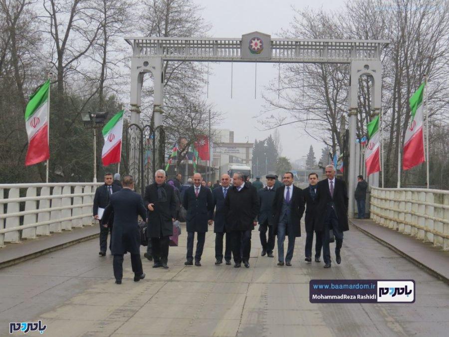 وزیر حملونقل و مدیرعامل راهآهن جمهوری آذربایجان از مرز زمینی آستارا وارد ایران شدند / تصاویر