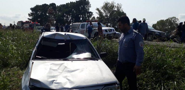 ۷ کشته و زخمی بر اثر برخورد شدید پراید با کاروان تمرینی اربعین حسینی در انزلی + تصاویر