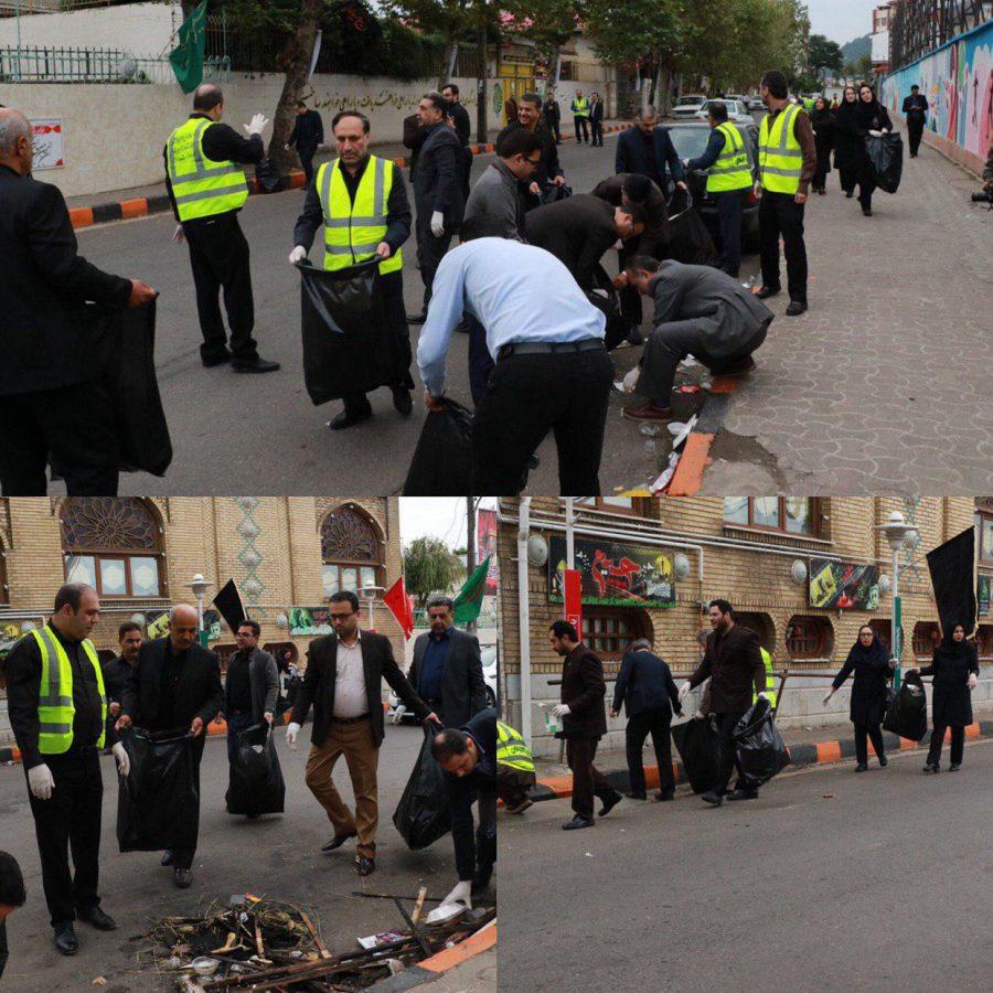 محله آقامیرشهید لاهیجان با حضور مسئولان از زباله و پسماند های خشک پاکسازی شد