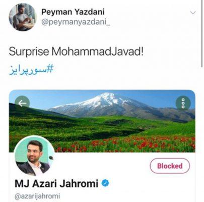 26068554 405x400 - کمپین بلاک کردن وزیر جوان در توئیتر پس از سوپرایز سرکاری!