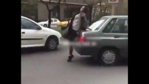 حمله دختر بی ام و سوار به کانکس پلیس در بلوار اندرزگوی تهران + فیلم
