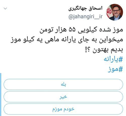 واکنش کاربران توئیتری به قیمت نجومیِ موز 6 - واکنش کاربران توئیتری به قیمت نجومیِ موز / طرح تعویض یارانه با یک کیلو موز!