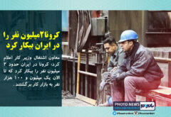 کرونا ۲ میلیون نفر را در ایران بیکار کرد / ۱.۱ میلیون نفر آن ها به بازار کار برگشته اند